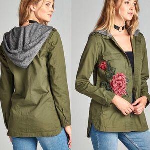 Jackets & Blazers - 🎉Sale Olive Green 🌹Patch Hooded Utility Jacket