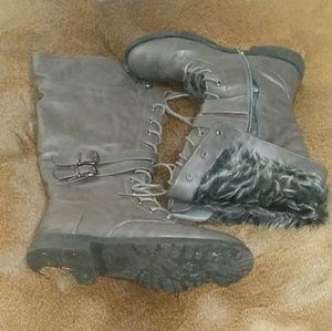 Size 10 West Blvd Knee High Gray Faux Fur Boots
