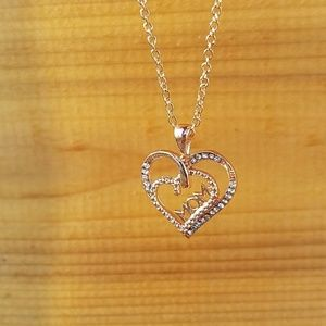 Jewelry - Rose Gold Plated Double Heart Mom Necklace