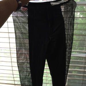 Pants - Black fishnet pants pleather center