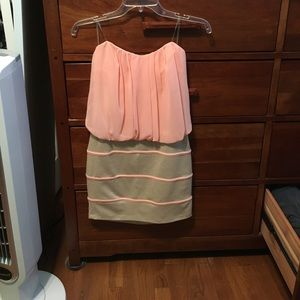 Pink and tan/cream strapless dress