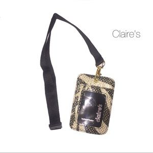 Claire's Cream Black Sparkle Zebra Badge Holder