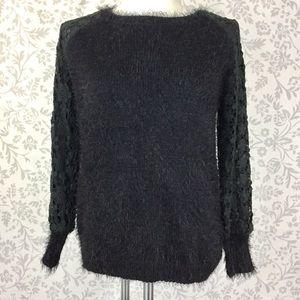 Millau black fuzzy crochet floral lace sweater S