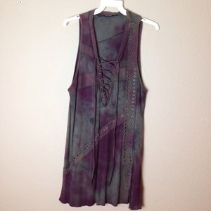 SALVAGE distressed lace front  dress tunic
