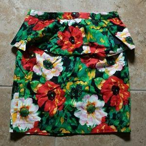 Forever 21   Floral Peplum Pencil Skirt