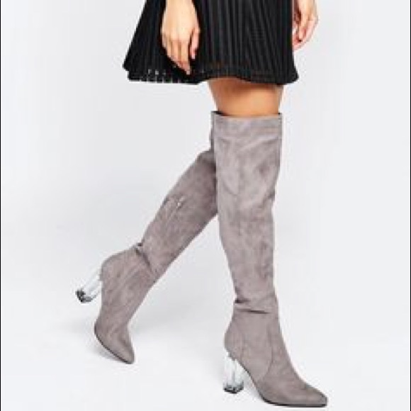 d051850999 Asos Shoes | Daisy Street Clear Heeled Over The Knee Boots | Poshmark