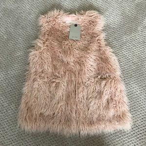 Zara Kids Girls Pink Fur Vest Size 9/10