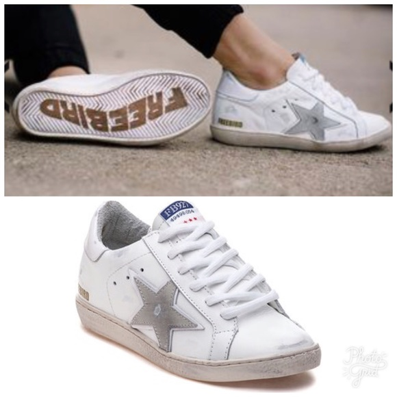 fa5c94b2b01 Freebird by Steven 927 White Leather Star Sneakers