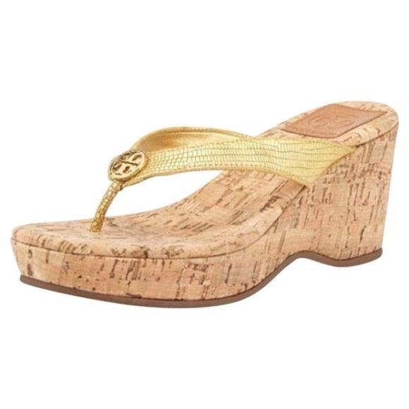 Tory Burch Schuhes   Suzy Suzy  Platform Cork Wedge Sandales Gold   Poshmark 1d1e6a