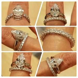 2pc 14k White Gold pear Engagement ring