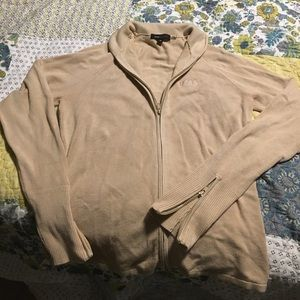 BCBG max azria cream colored zip sweater