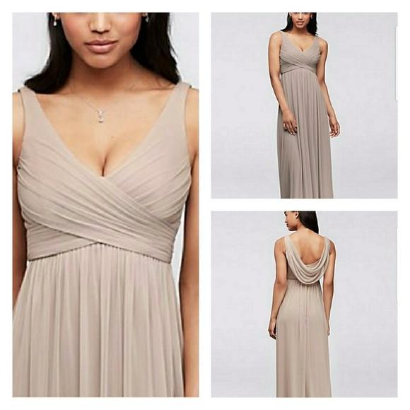 aed61273eae David s Bridal Dresses   Skirts - David s Bridal F15933 Biscotti Long Dress  w  Cowl
