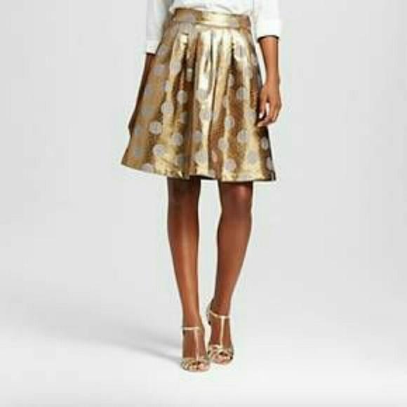 8d4289dd059c7 ISANI for Target Skirts | Nwt Womens Foil Dot Jacquard Skirt Gold Xs ...