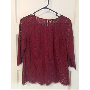 The limited lace merlot top