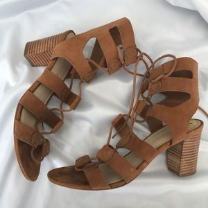 MARC FISHER Patsey Lace Up Stacked Heel Sandal