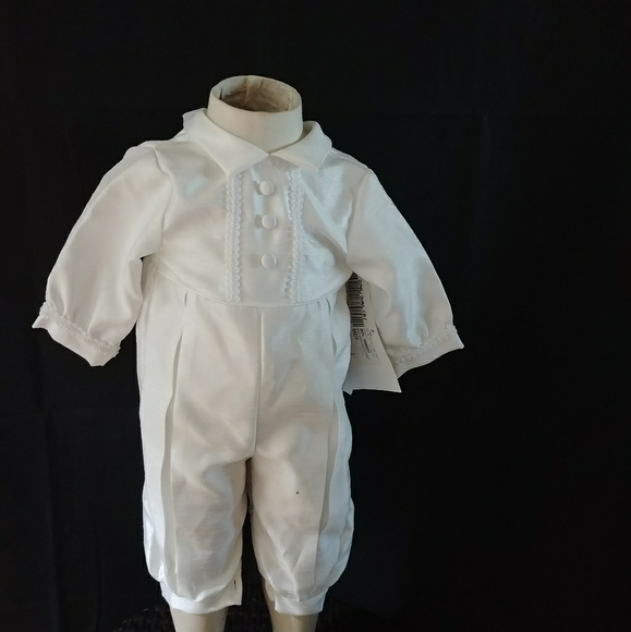 a3172b320b0 Lauren Madison Baby boy Christening Romper