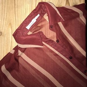 Maroon and Beige Striped Sheer Button Down