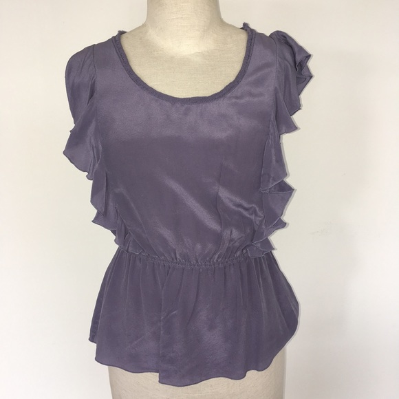 add0fde9ccfdaf Banana Republic Tops - BANANA REPUBLIC ~ purple silk ruffle blouse size S