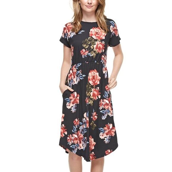 Reborn J Dresses & Skirts - NEW Black Floral Midi Dress with Pockets