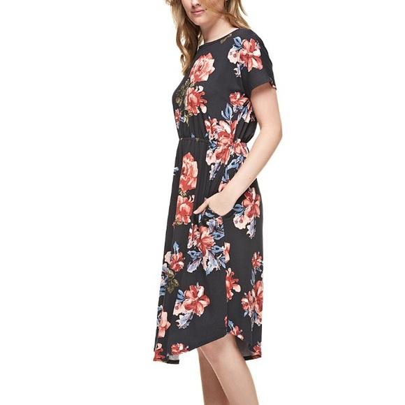 Reborn J Dresses - NEW Black Floral Midi Dress with Pockets