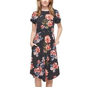 NEW Black Floral Midi Dress with Pockets