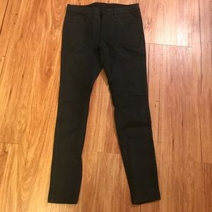 Black wax coated jeans