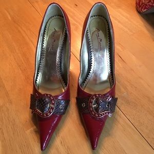Shoes - Dark Red pointed heels