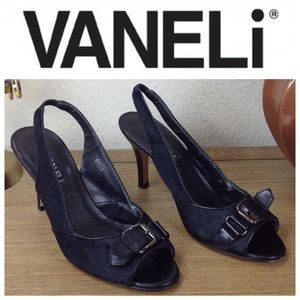Vaneli Black Leather Pony Hair Slingback Heels