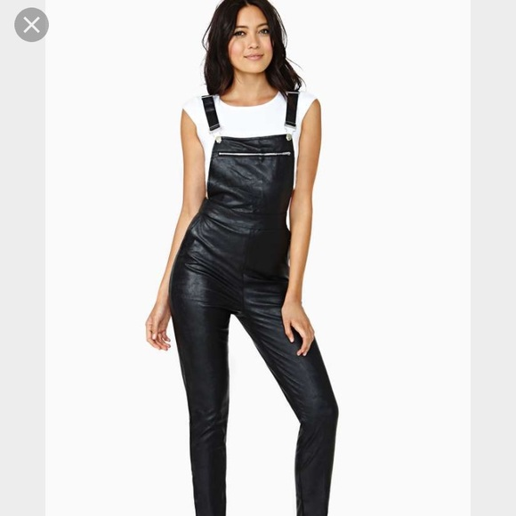 4888d91c073 Rehab black Faux Leather overalls - small