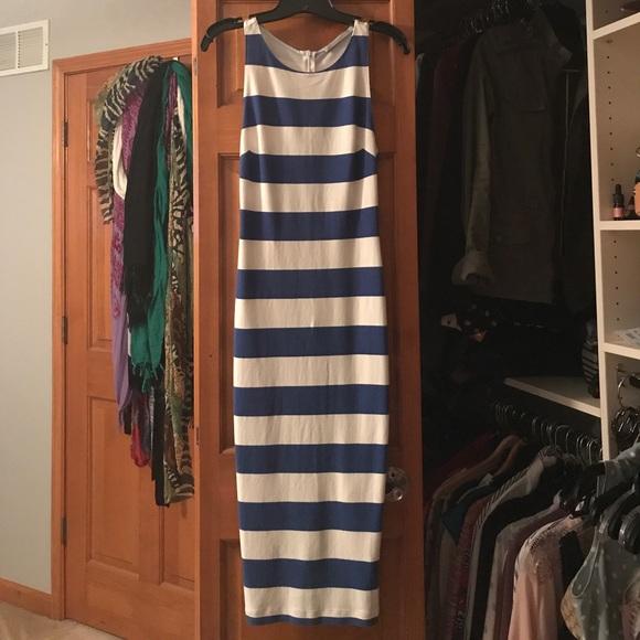 Zara Dresses & Skirts - Trafaluc Blue and White Bodycon Dress