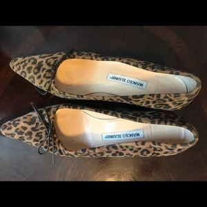 manolo Blahnik leopard print kitten heel shoes.