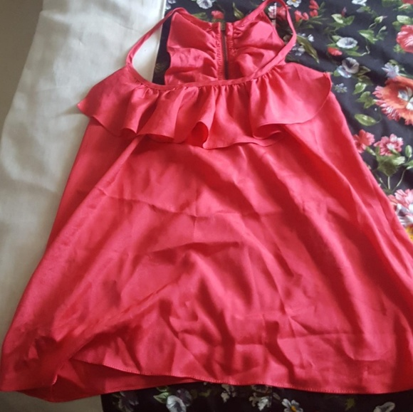 Satin silk ruffle racerback camie blouse
