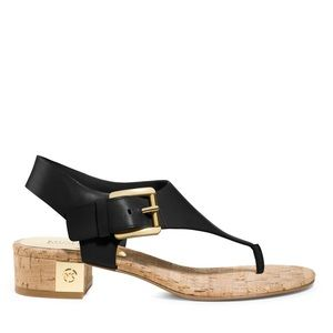 Michael Kors black leather cork thong sandal