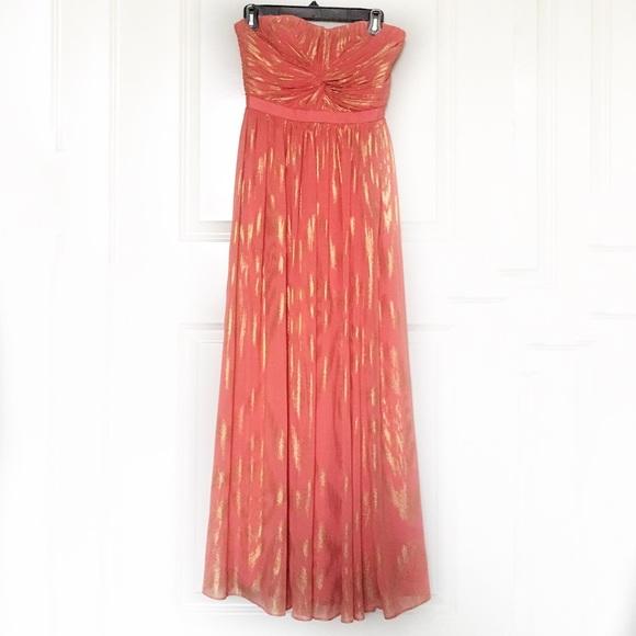 Aqua Bloomingdales Coral Gold Formal Gown 0 Poshmark