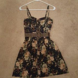 Floral navy blue dress
