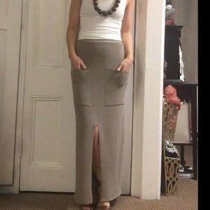 Mango Taupe knit maxi skirt