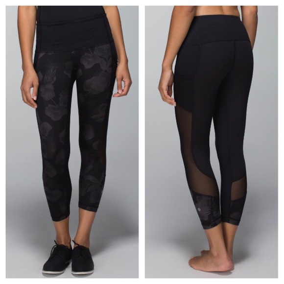 7d9b1fe97d214 lululemon athletica Pants - Lululemon Seek the Heat Crop- Inky Floral Soot,  6