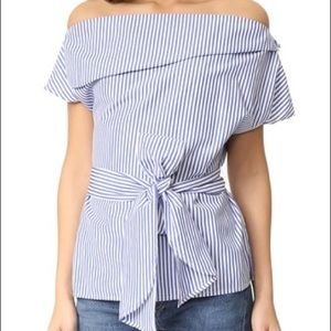 NWT J.O.A. off the shoulder stripes tunic