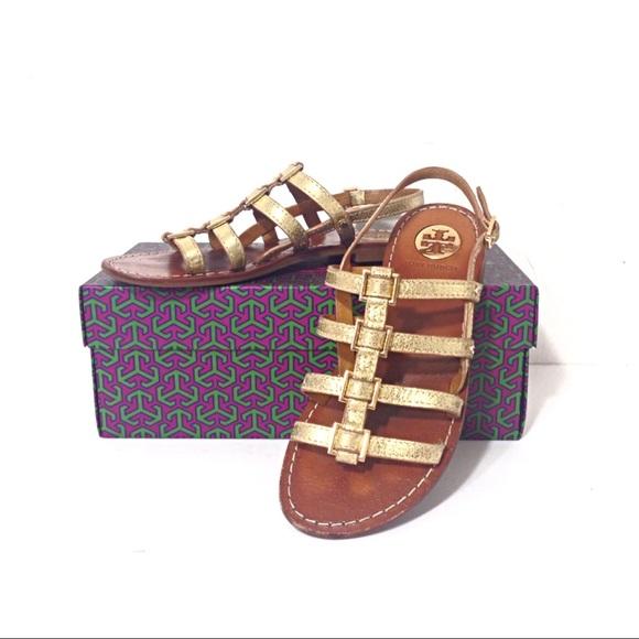 6e126b0b94895 Tory Burch Gladiator Reggie Metallic Flat Sandals.  M 59a8ecf32ba50a7d86002142