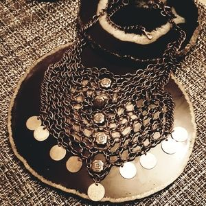 FREE PEOPLE 🦋 Chainmail & Coin Necklace in Copper