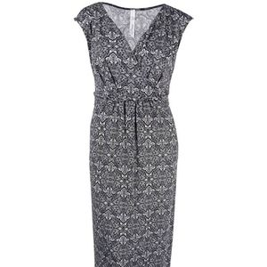 Printed Surplice Grey Prism Maxi Dress