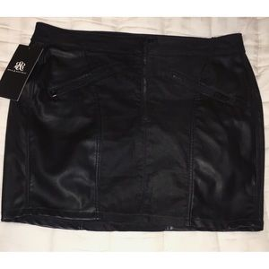Leather and Fabric Mini Skirt