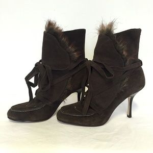 JLO Brown Faux Fur Lace Up Suede Booties 6.5