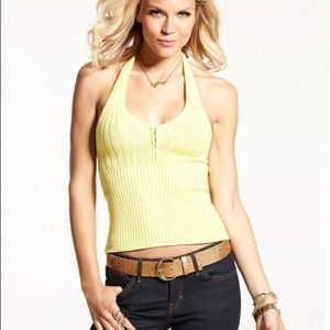GUESS SLEEVELESS HALTER TOP V-NECK SWEATER