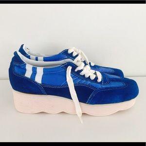Vintage  Platform Wedge Sneakers Blue Suede Shoes