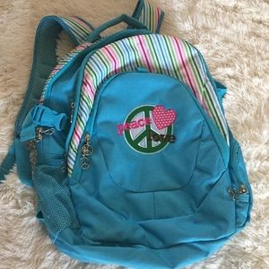Peace love Embroidered blue backpack