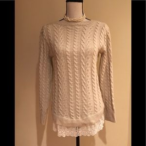 Beautiful cable knit sweater with lace bottom