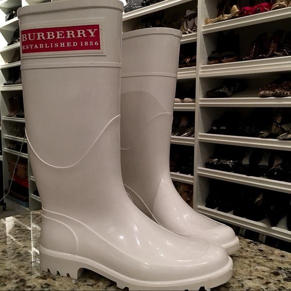 Burberry White Rubber Rain Boots