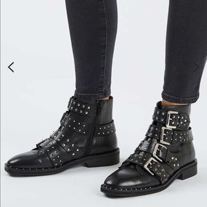 """Topshop """"Amy"""" Black Leather Studded Ankle Boot"""