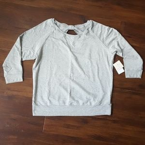 Kate Spade beyond yoga bow gray sweatshirt NWT